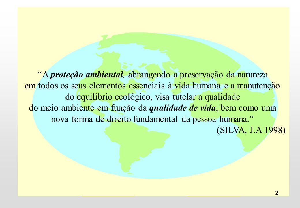 A proteção ambiental, abrangendo a preservação da natureza