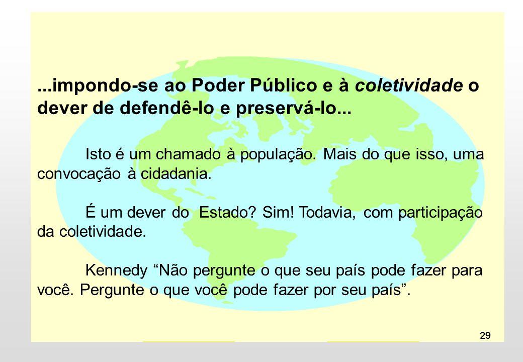 ...impondo-se ao Poder Público e à coletividade o dever de defendê-lo e preservá-lo...
