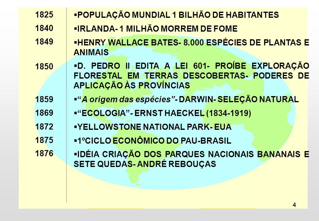 1825 1840. 1849. 1850. 1859. 1869. 1872. 1875. 1876. POPULAÇÃO MUNDIAL 1 BILHÃO DE HABITANTES.