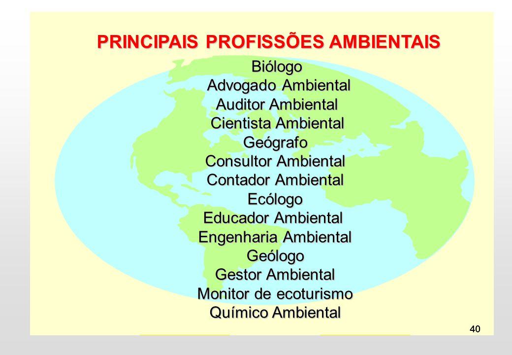 PRINCIPAIS PROFISSÕES AMBIENTAIS