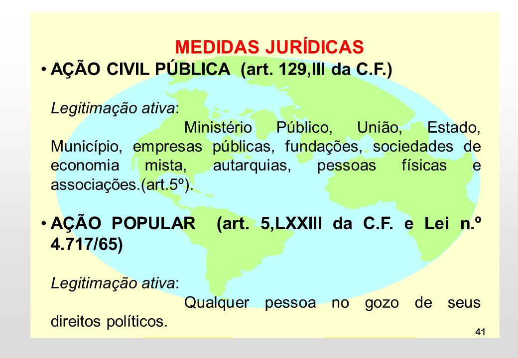 MEDIDAS JURÍDICAS AÇÃO CIVIL PÚBLICA (art. 129,III da C.F.)