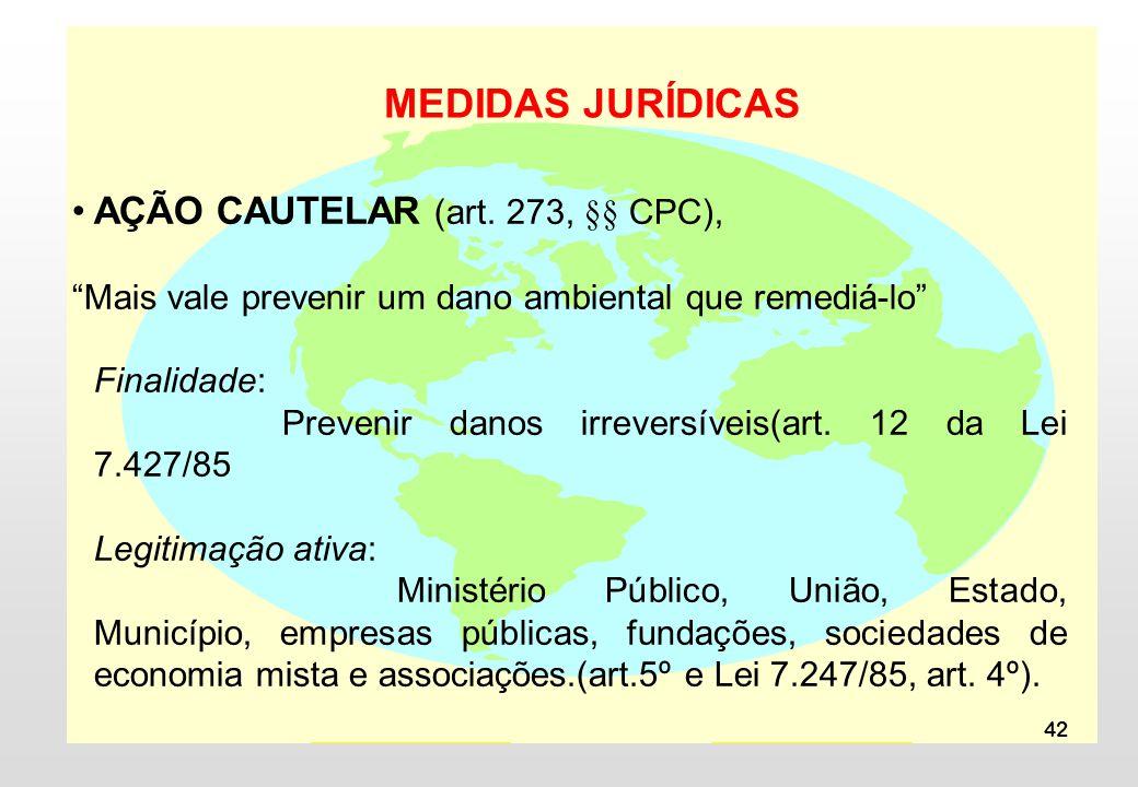 MEDIDAS JURÍDICAS AÇÃO CAUTELAR (art. 273, §§ CPC),