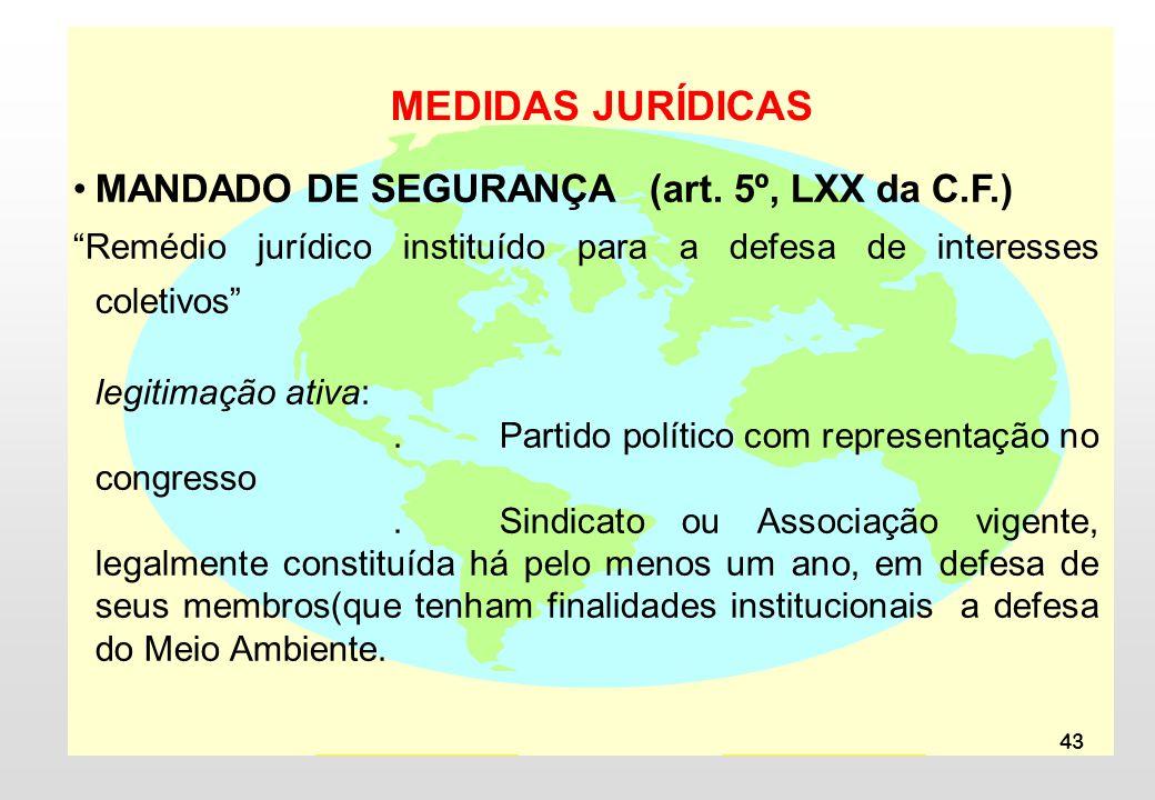 MEDIDAS JURÍDICAS MANDADO DE SEGURANÇA (art. 5º, LXX da C.F.)