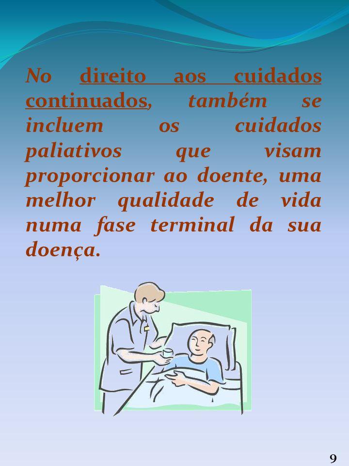 No direito aos cuidados continuados, também se incluem os cuidados paliativos que visam proporcionar ao doente, uma melhor qualidade de vida numa fase terminal da sua doença.