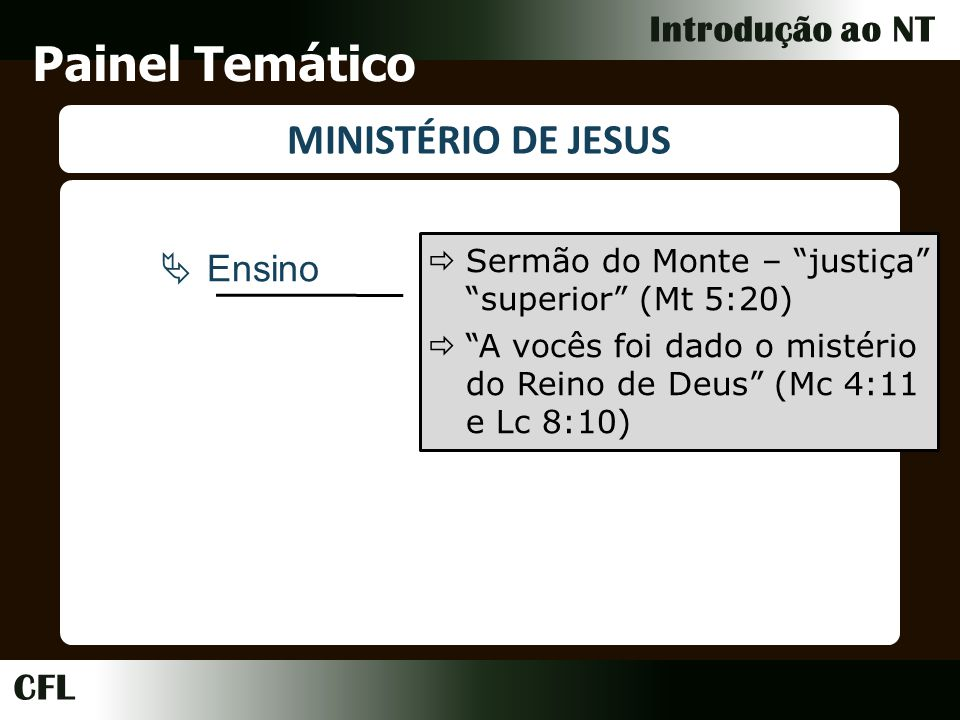 Painel Temático MINISTÉRIO DE JESUS Ensino