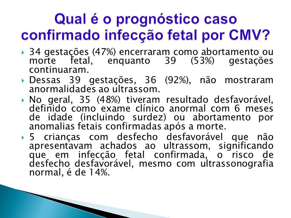 Qual é o prognóstico caso confirmado infecção fetal por CMV