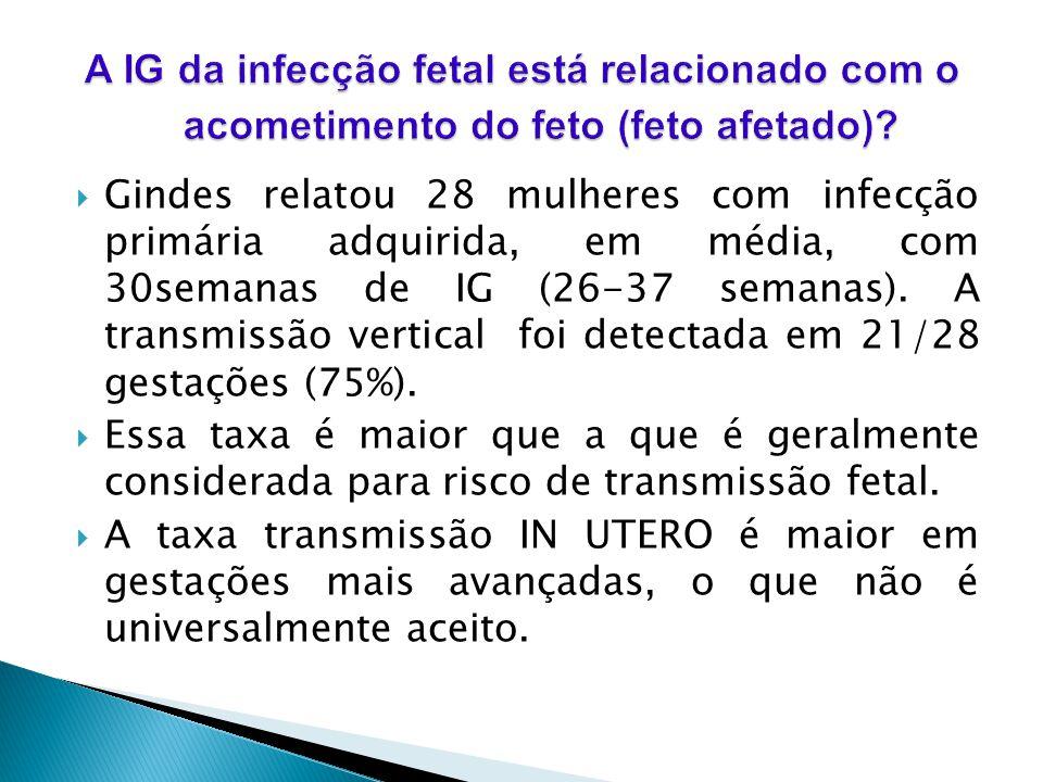 A IG da infecção fetal está relacionado com o acometimento do feto (feto afetado)