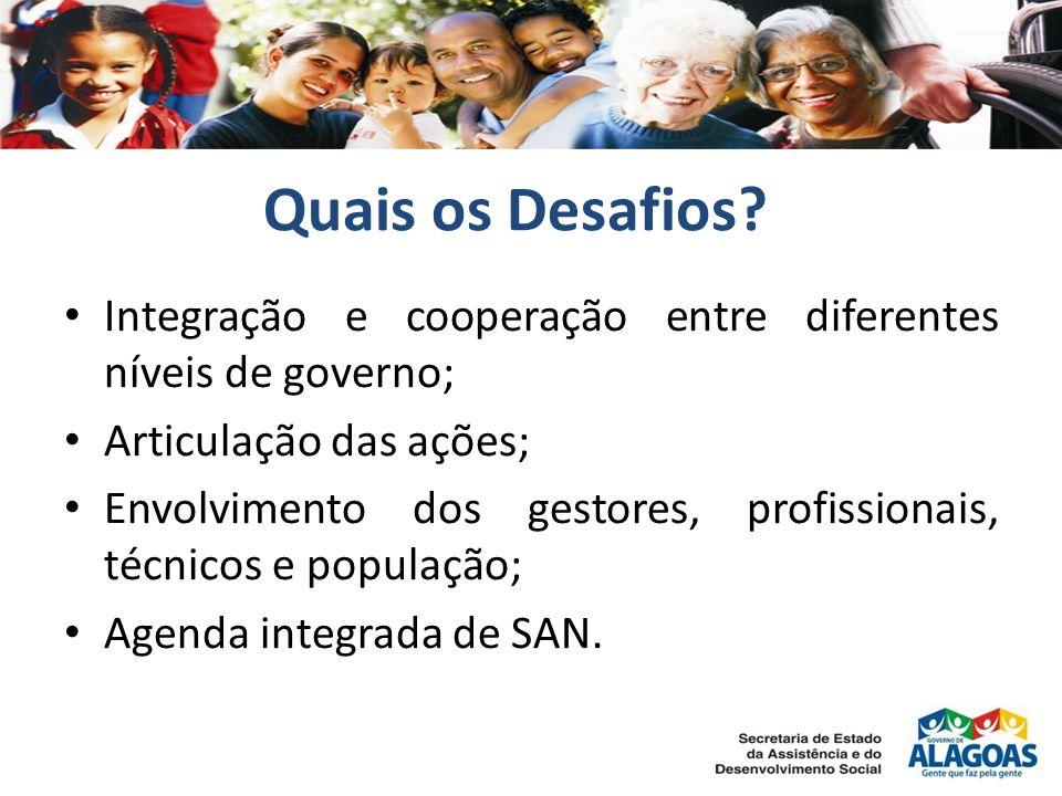 Quais os Desafios Integração e cooperação entre diferentes níveis de governo; Articulação das ações;