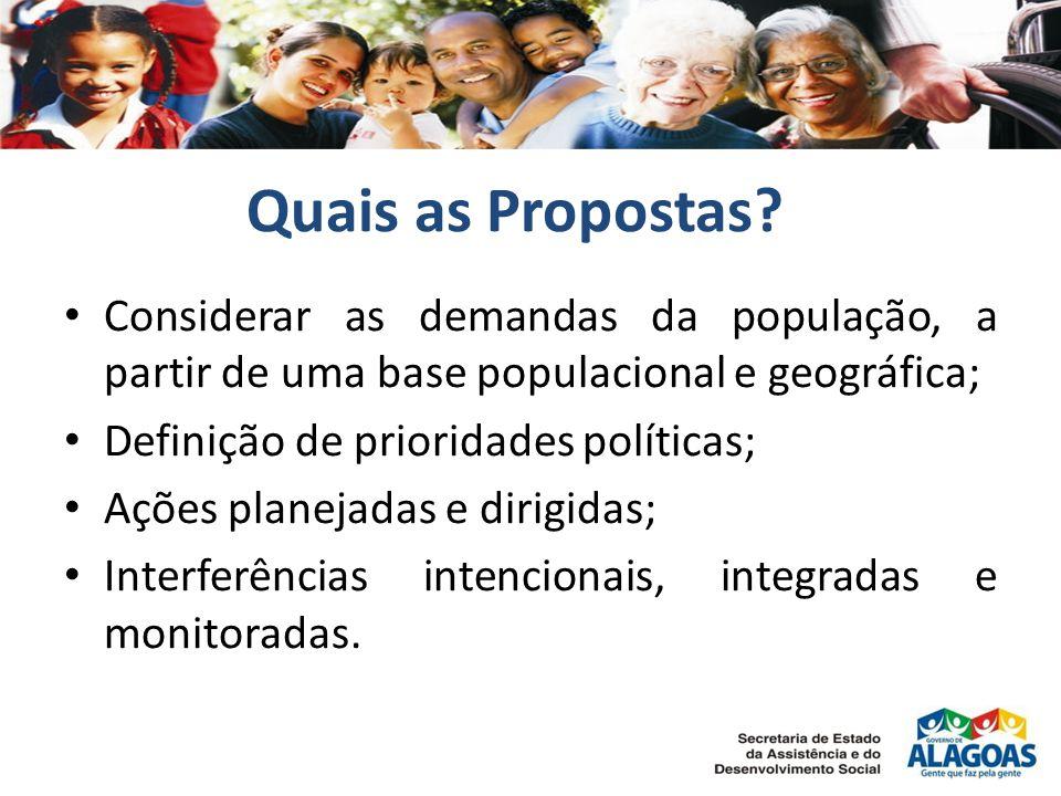 Quais as Propostas Considerar as demandas da população, a partir de uma base populacional e geográfica;