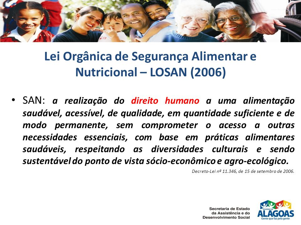 Lei Orgânica de Segurança Alimentar e Nutricional – LOSAN (2006)