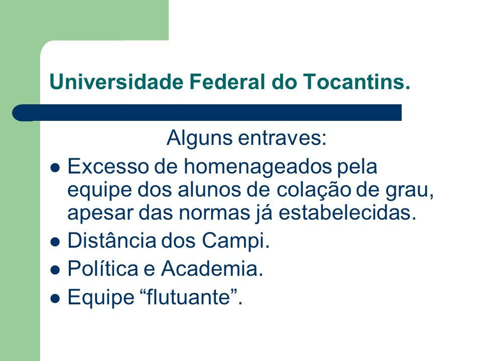 Universidade Federal do Tocantins.