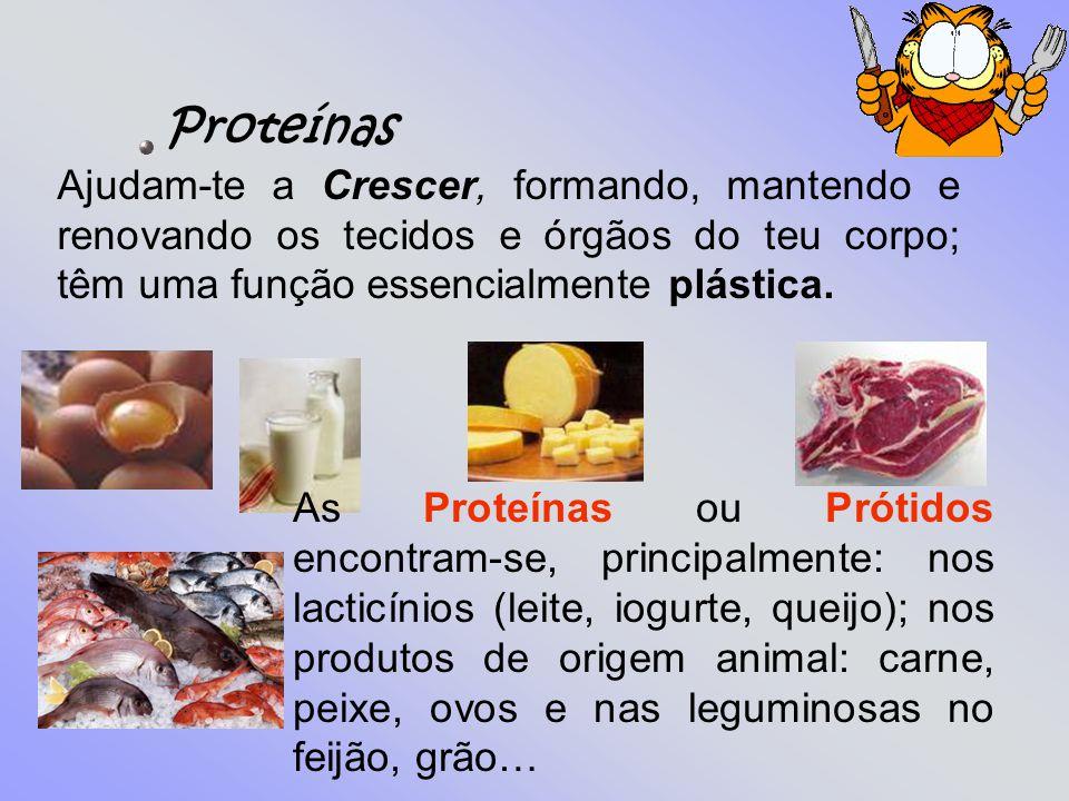 Proteínas Ajudam-te a Crescer, formando, mantendo e renovando os tecidos e órgãos do teu corpo; têm uma função essencialmente plástica.