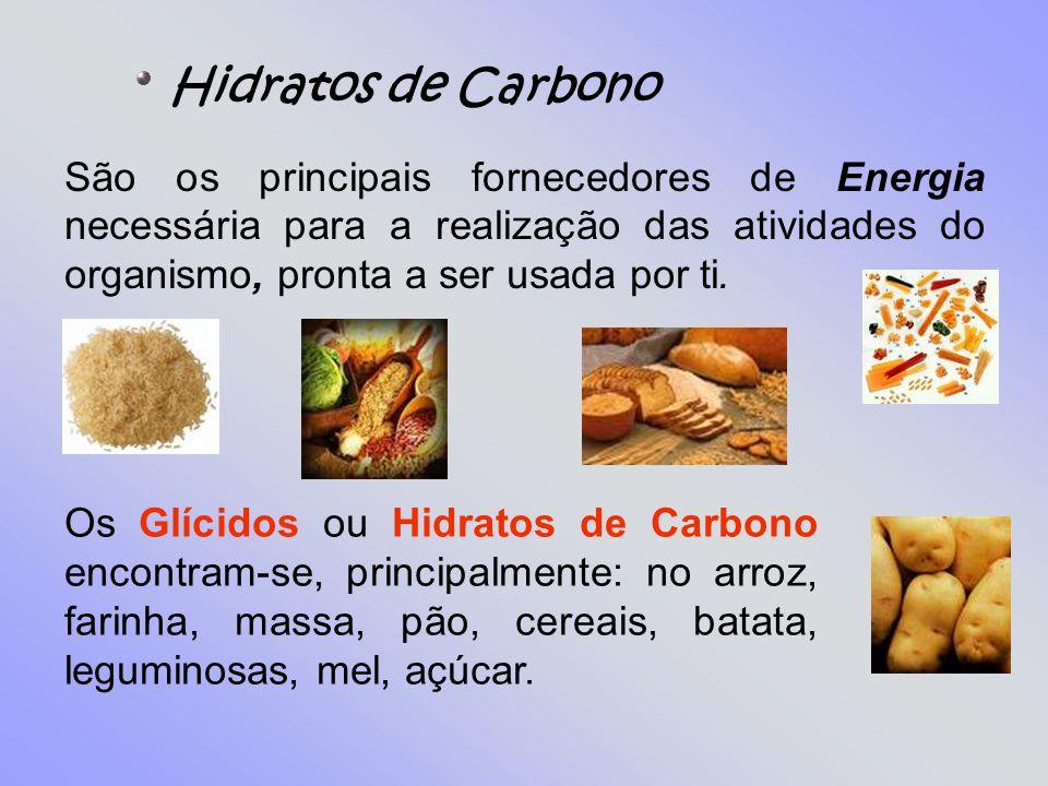 Hidratos de Carbono São os principais fornecedores de Energia necessária para a realização das atividades do organismo, pronta a ser usada por ti.