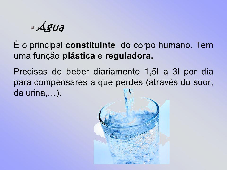 Água É o principal constituinte do corpo humano. Tem uma função plástica e reguladora.