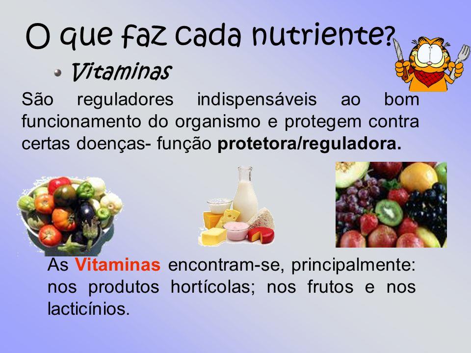 O que faz cada nutriente