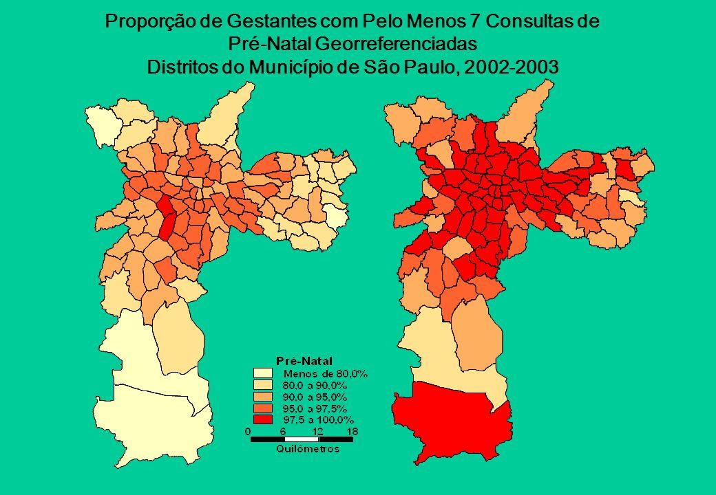 Proporção de Gestantes com Pelo Menos 7 Consultas de Pré-Natal Georreferenciadas Distritos do Município de São Paulo, 2002-2003
