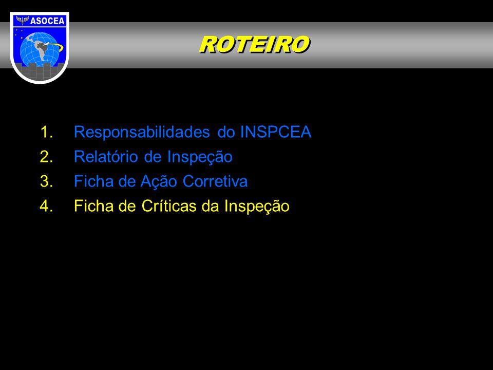 ROTEIRO Responsabilidades do INSPCEA Relatório de Inspeção
