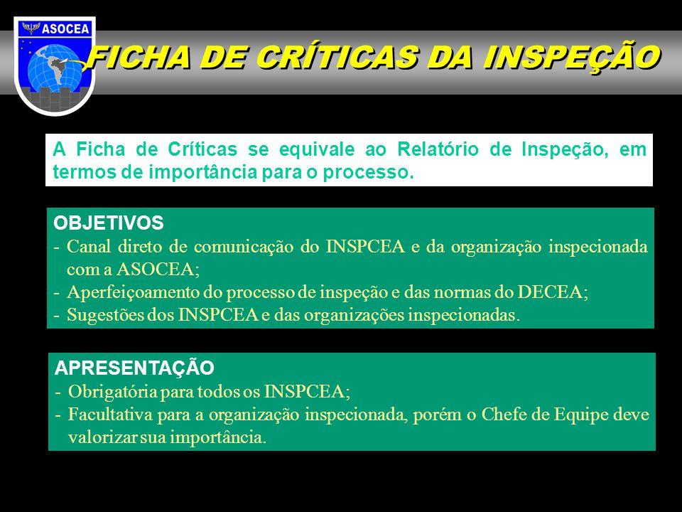 FICHA DE CRÍTICAS DA INSPEÇÃO
