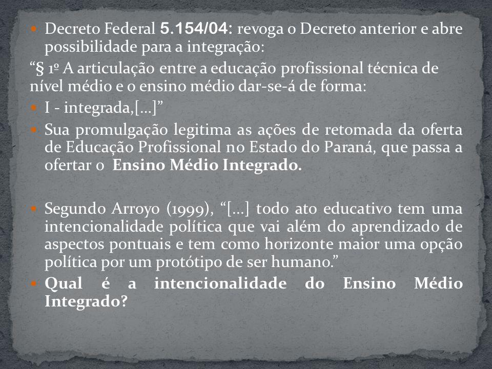 Decreto Federal 5.154/04: revoga o Decreto anterior e abre possibilidade para a integração: