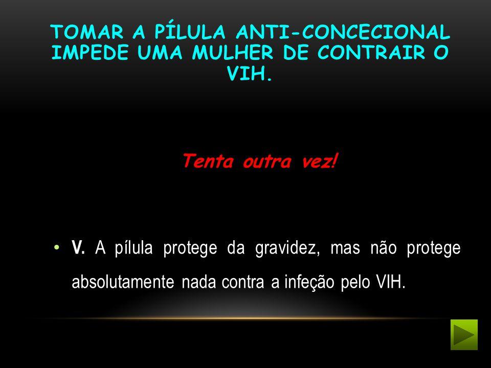 Tomar a pílula anti-concecional impede uma mulher de contrair o VIH.