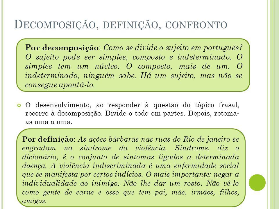 Decomposição, definição, confronto