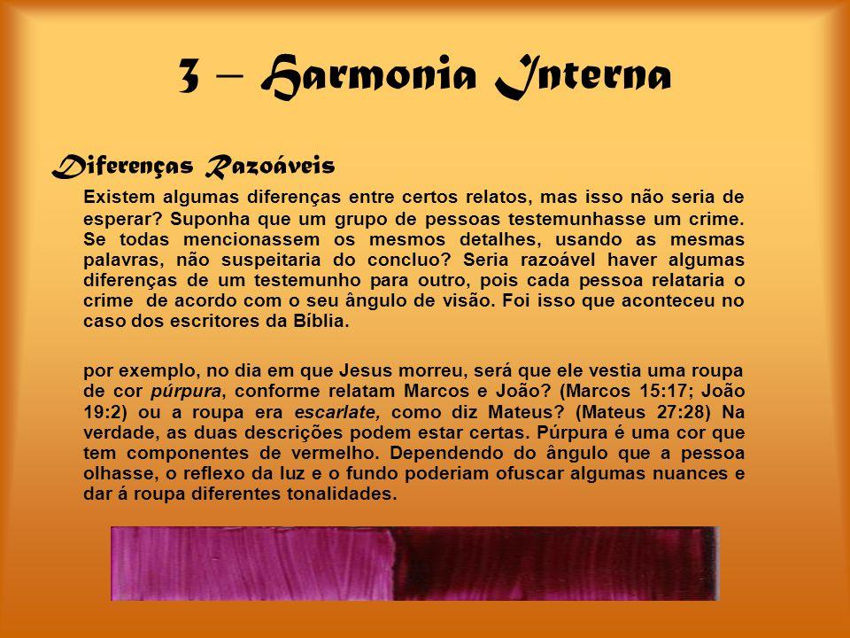 3 – Harmonia Interna Diferenças Razoáveis