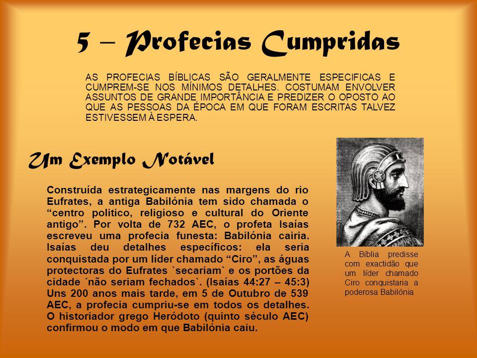 5 – Profecias Cumpridas Um Exemplo Notável