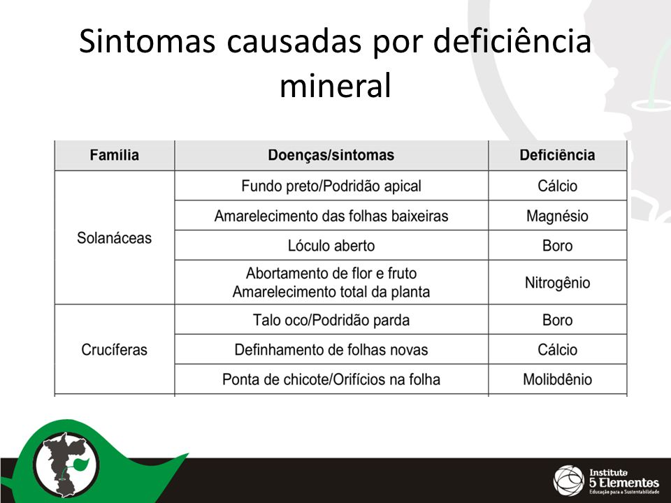 Sintomas causadas por deficiência mineral