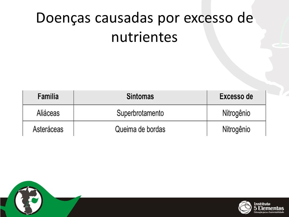 Doenças causadas por excesso de nutrientes