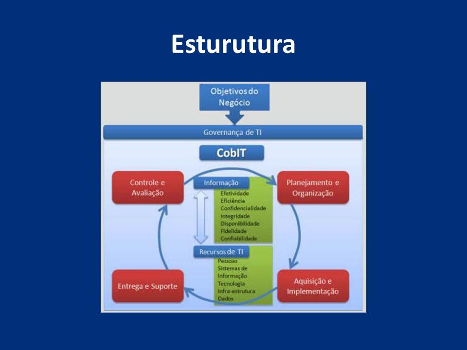 Esturutura A estrutura do CobiT é ramificada em quatro domínios, os quais possuem 34 processos (2 objetivos de controle para cada processo):
