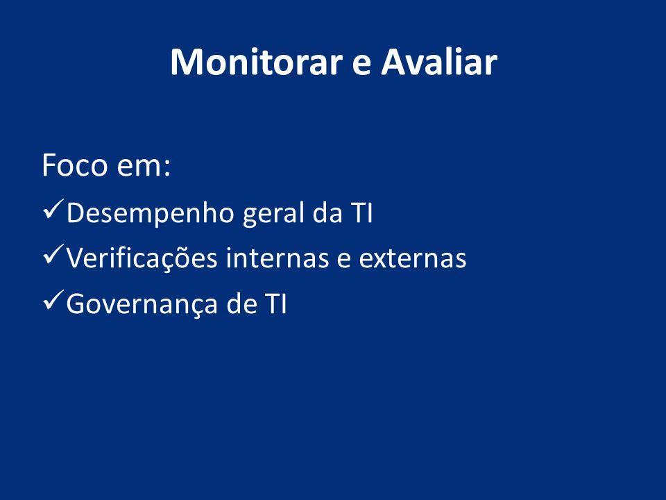 Monitorar e Avaliar Foco em: Desempenho geral da TI