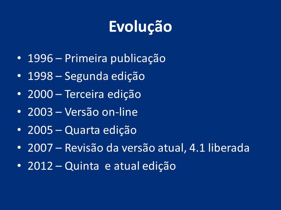Evolução 1996 – Primeira publicação 1998 – Segunda edição