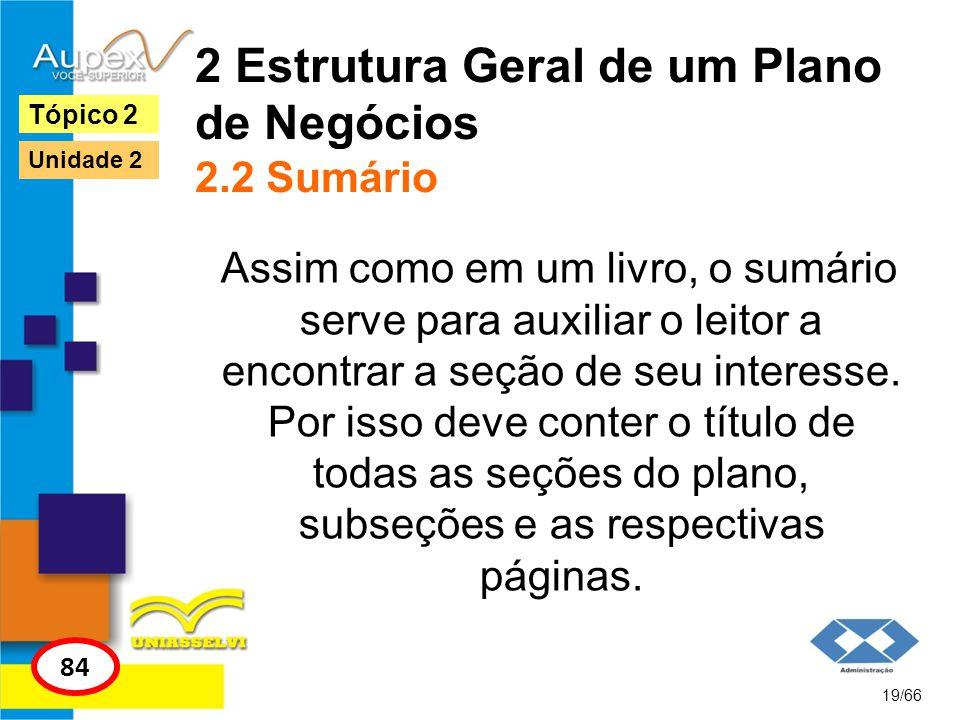 2 Estrutura Geral de um Plano de Negócios 2.2 Sumário