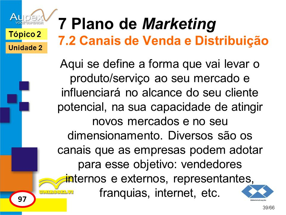 7 Plano de Marketing 7.2 Canais de Venda e Distribuição