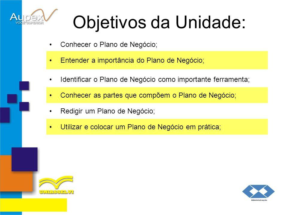 Objetivos da Unidade: Conhecer o Plano de Negócio;