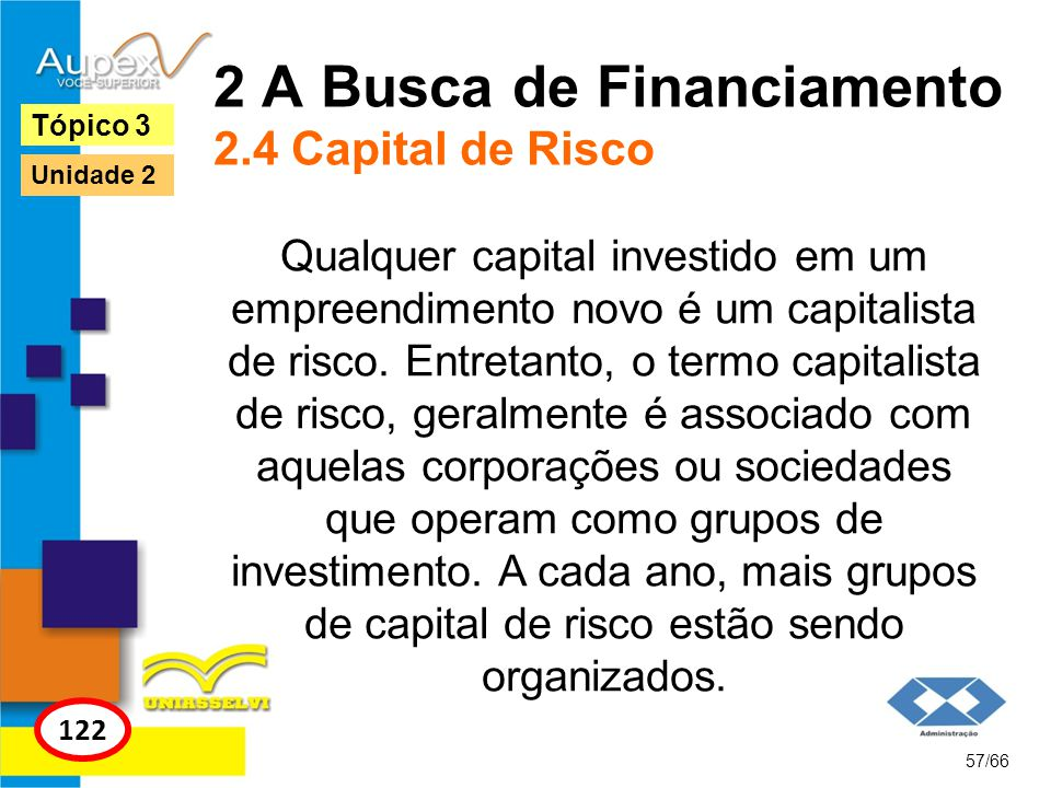 2 A Busca de Financiamento 2.4 Capital de Risco
