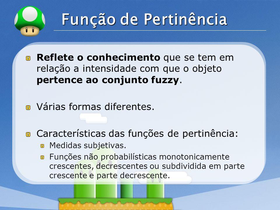 Função de Pertinência Reflete o conhecimento que se tem em relação a intensidade com que o objeto pertence ao conjunto fuzzy.