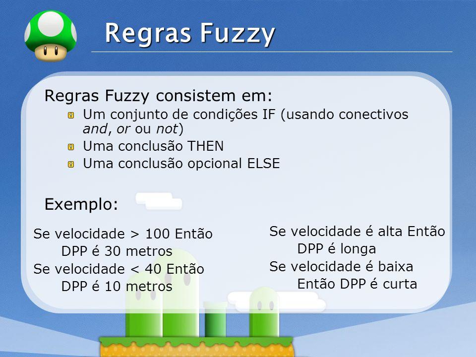 Regras Fuzzy Regras Fuzzy consistem em: Exemplo: