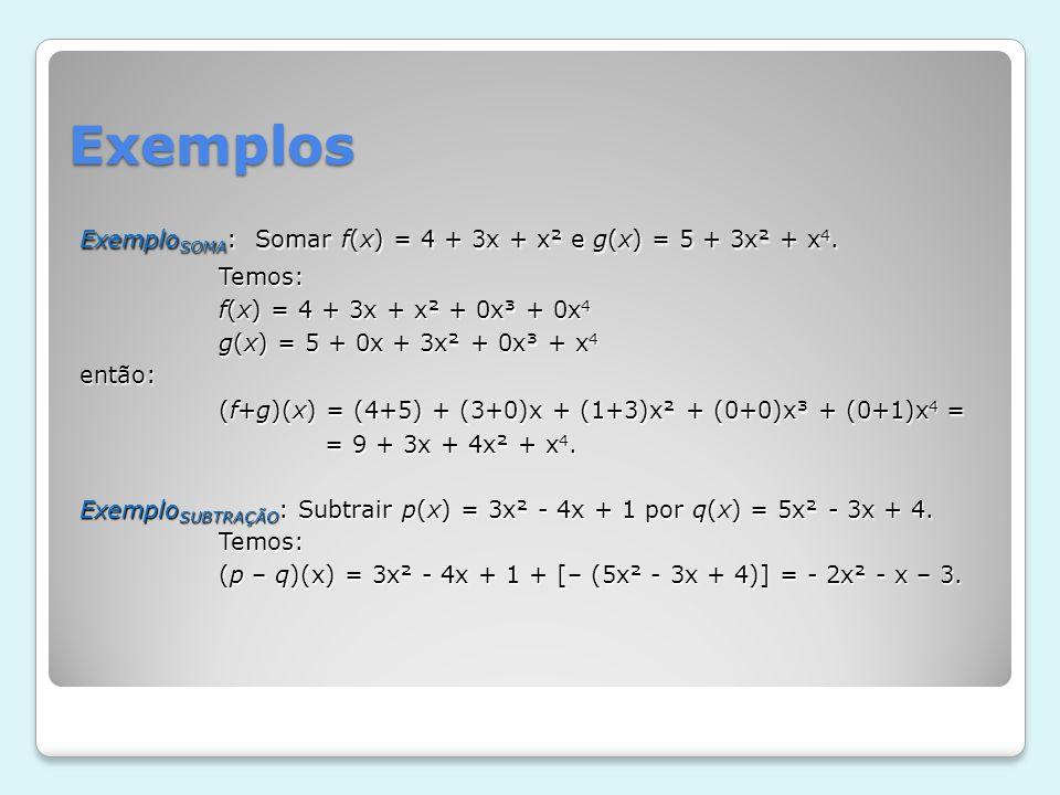Exemplos (f+g)(x) = (4+5) + (3+0)x + (1+3)x² + (0+0)x³ + (0+1)x4 =