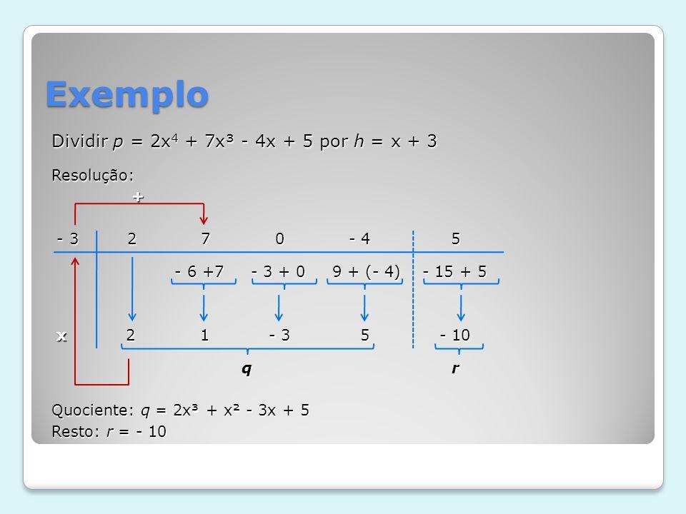 Exemplo Dividir p = 2x4 + 7x³ - 4x + 5 por h = x + 3 Resolução: +