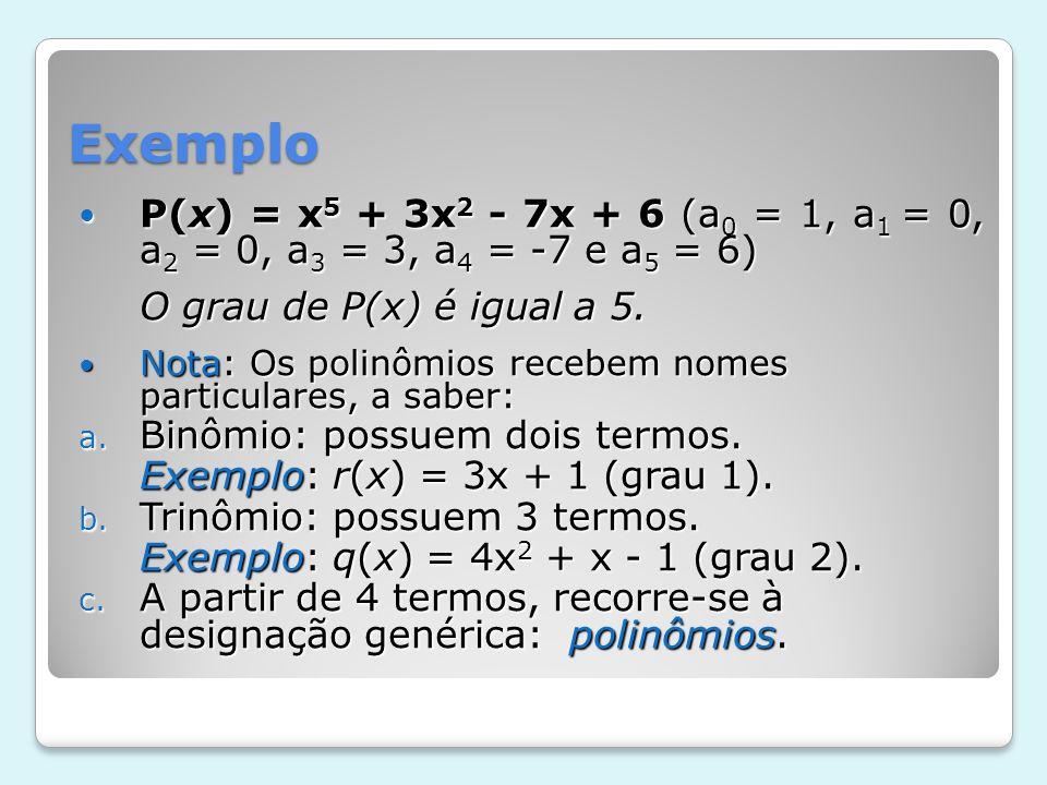 Exemplo P(x) = x5 + 3x2 - 7x + 6 (a0 = 1, a1 = 0, a2 = 0, a3 = 3, a4 = -7 e a5 = 6) O grau de P(x) é igual a 5.