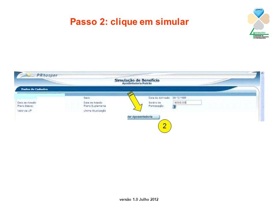 Passo 2: clique em simular