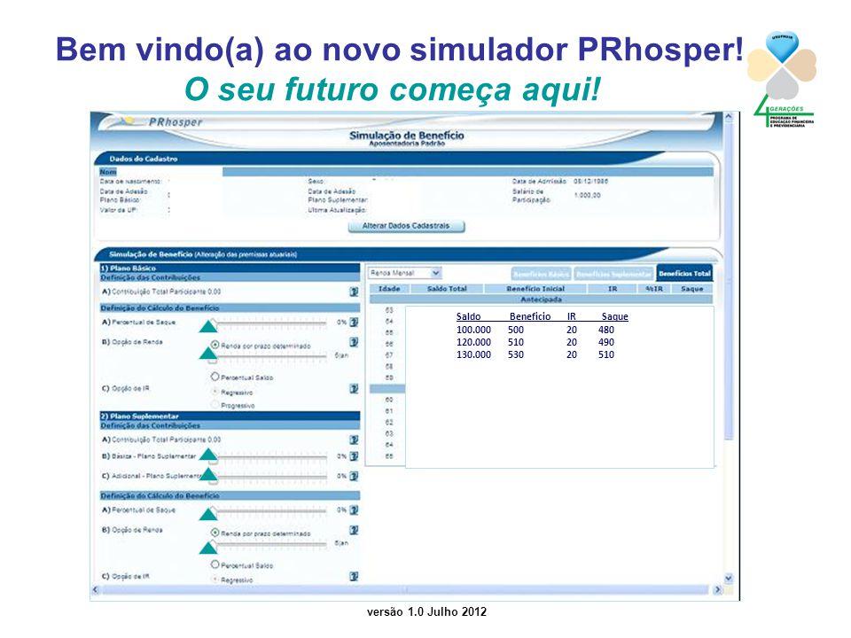 Bem vindo(a) ao novo simulador PRhosper! O seu futuro começa aqui!