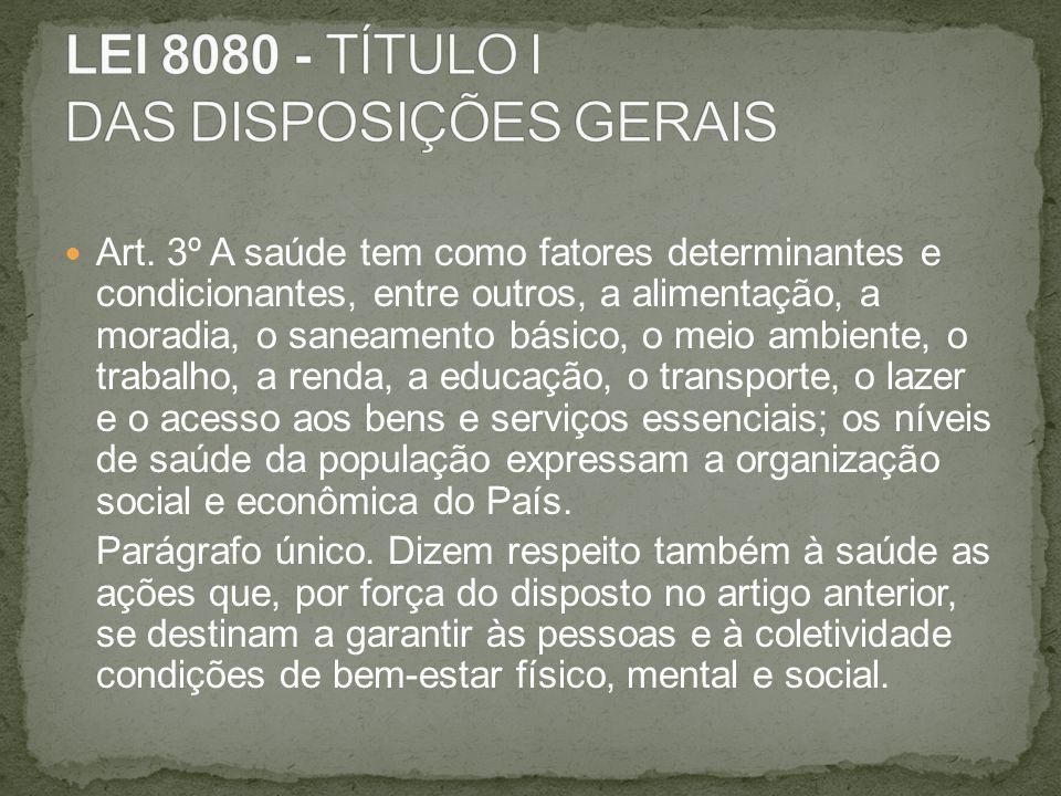 LEI 8080 - TÍTULO I DAS DISPOSIÇÕES GERAIS
