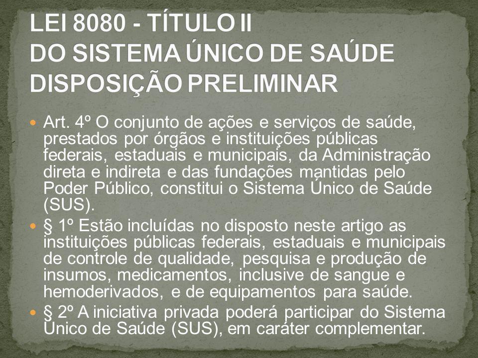 LEI 8080 - TÍTULO II DO SISTEMA ÚNICO DE SAÚDE DISPOSIÇÃO PRELIMINAR