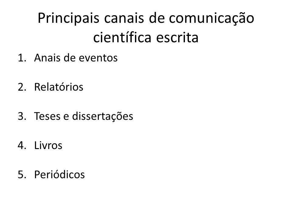 Principais canais de comunicação científica escrita