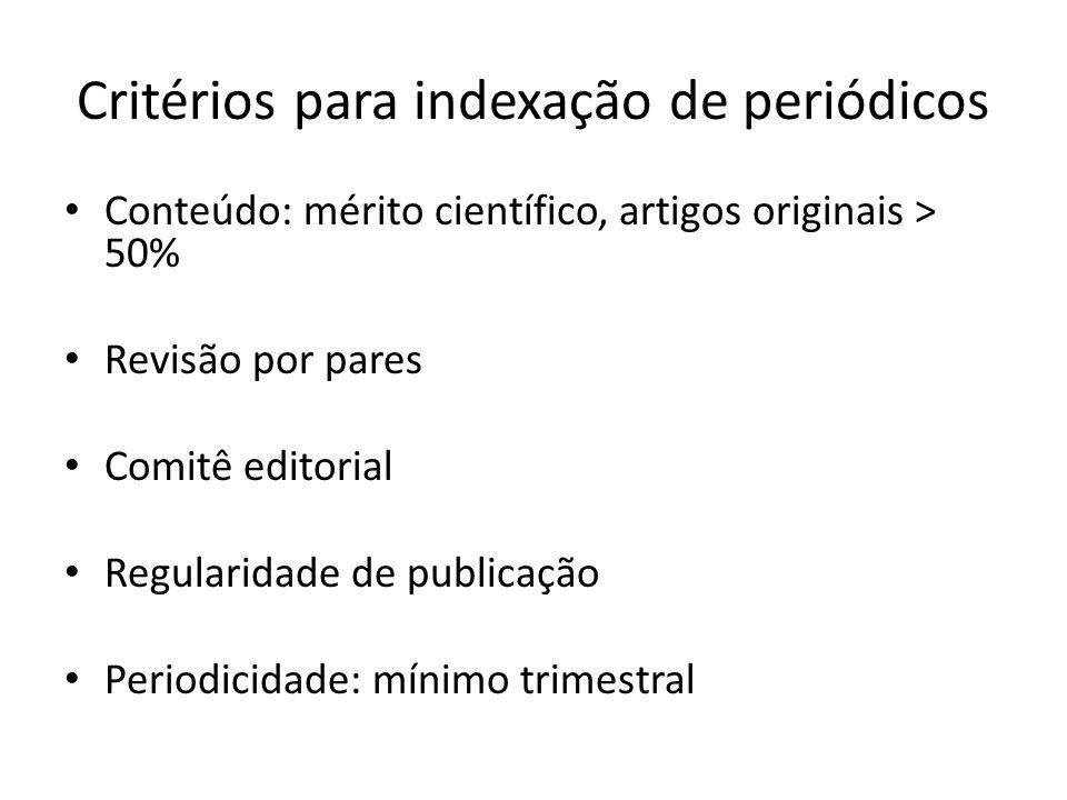Critérios para indexação de periódicos