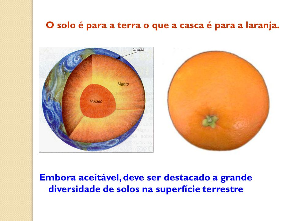 O solo é para a terra o que a casca é para a laranja.