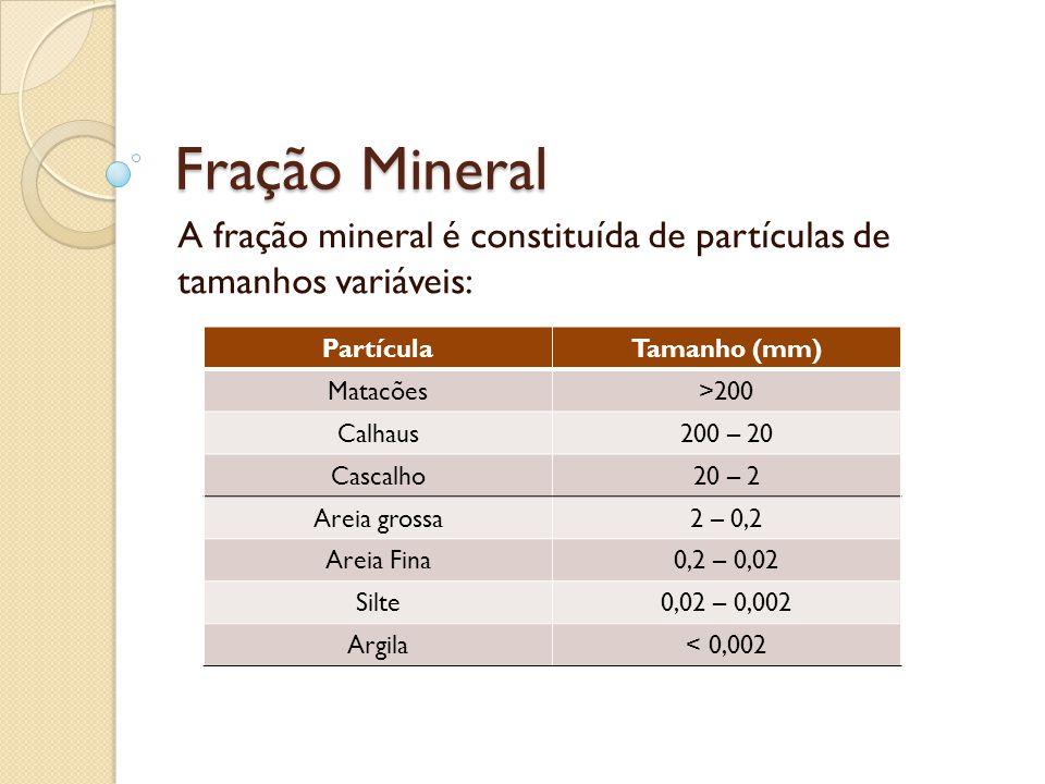 A fração mineral é constituída de partículas de tamanhos variáveis: