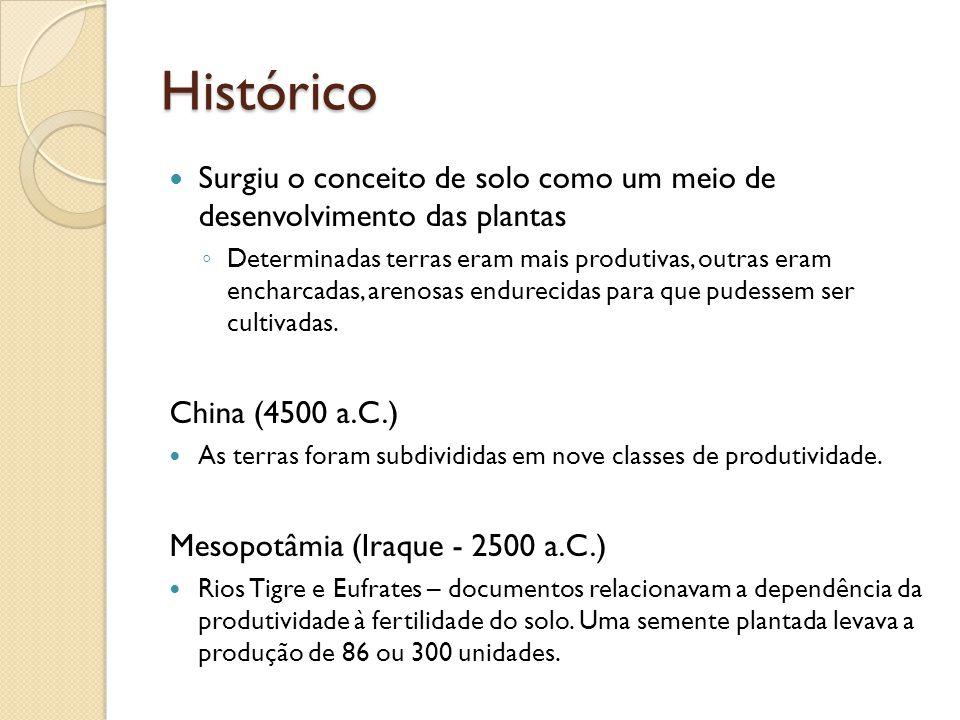 Histórico Surgiu o conceito de solo como um meio de desenvolvimento das plantas.
